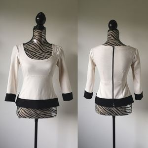 Nanette Lepore Zipper back pelum wool blend top